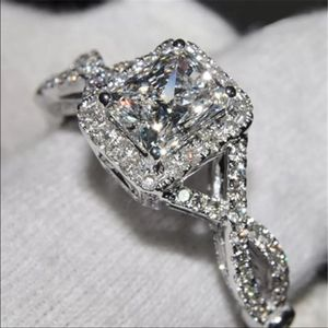 S925 stamped silver white halo diamond ring